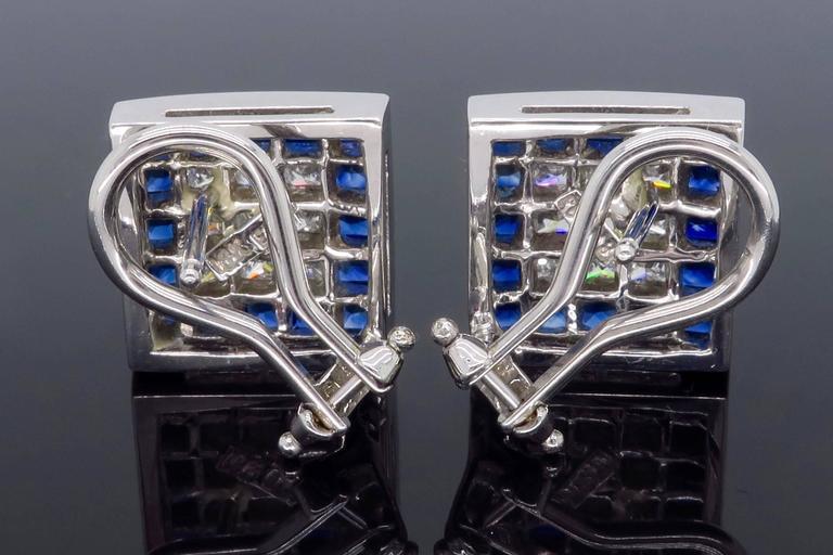 1.44 Carat Sapphire Diamond White Gold Omega Back Earrings For Sale 2