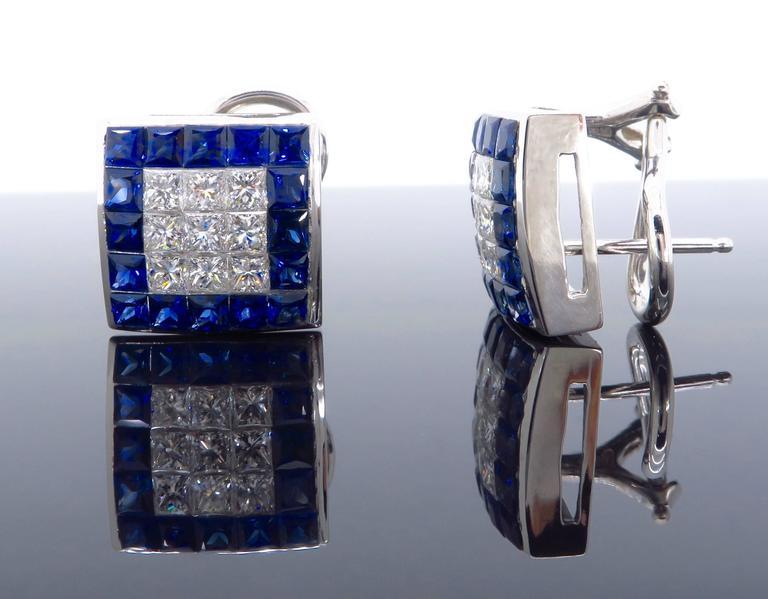 1.44 Carat Sapphire Diamond White Gold Omega Back Earrings For Sale 4