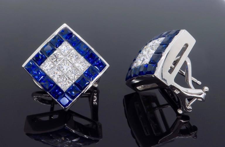 1.44 Carat Sapphire Diamond White Gold Omega Back Earrings For Sale 3