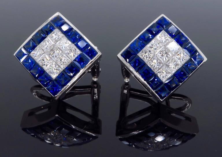 1.44 Carat Sapphire Diamond White Gold Omega Back Earrings For Sale 5