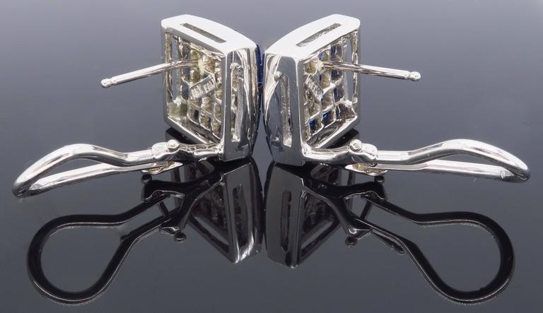 1.44 Carat Sapphire Diamond White Gold Omega Back Earrings For Sale 6
