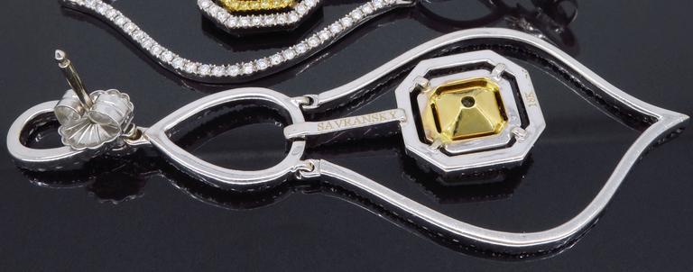 Savransky GIA Certified Diamond and White Gold Chandelier Dangle Earrings 5