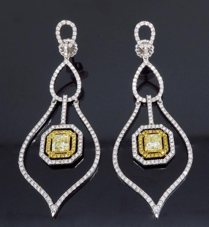 Savransky GIA Certified Diamond and White Gold Chandelier Dangle Earrings 7