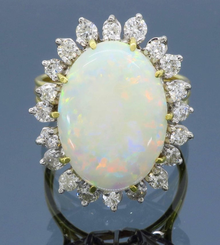 Large Opal Diamond Yellow Gold And White Gold Halo Setting