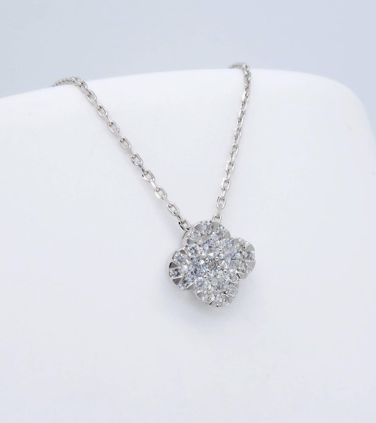 Diamond clover pendant necklace at 1stdibs womens diamond clover pendant necklace for sale aloadofball Image collections