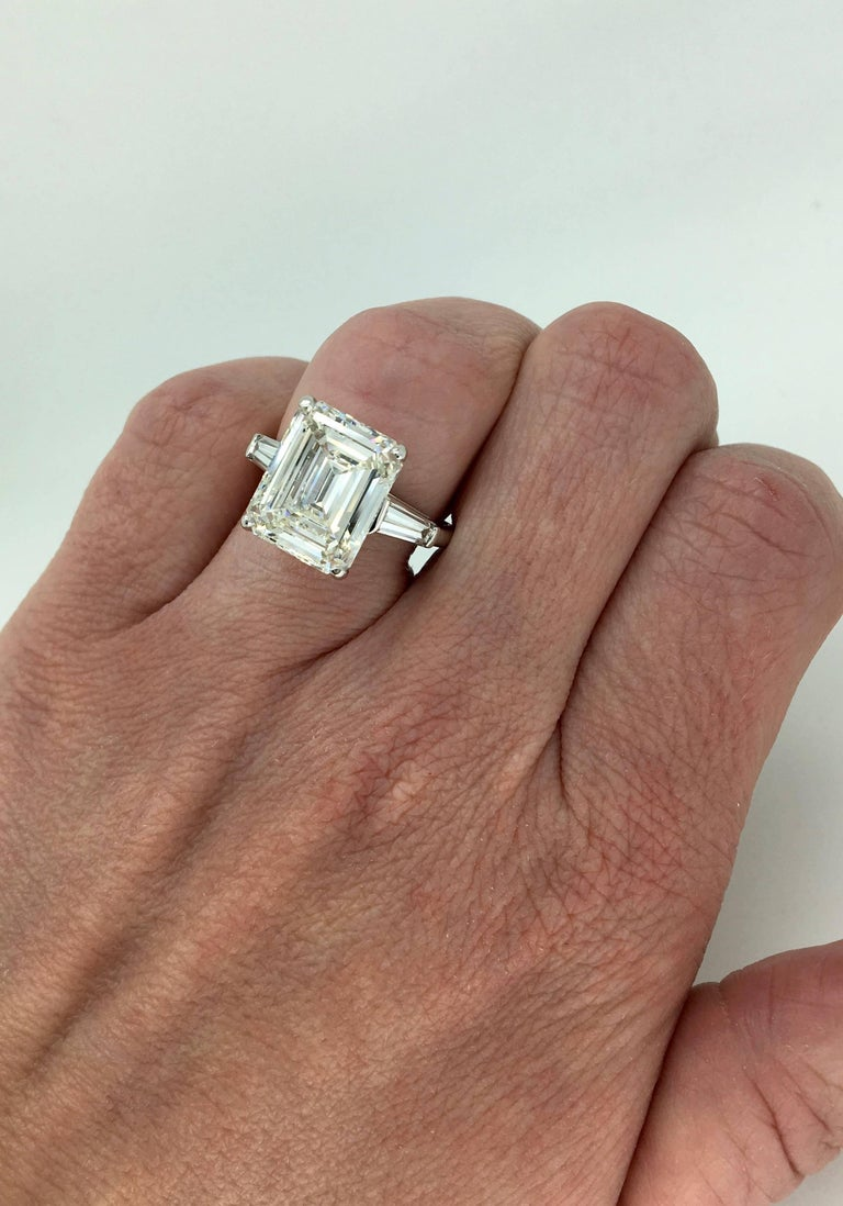 6.81 Carat Emerald Cut Diamond Ring In Excellent Condition For Sale In Webster, NY