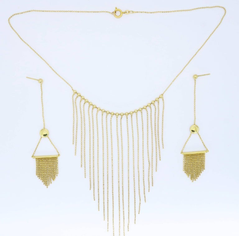Women's or Men's 18 Karat Gold Fringe Necklace and Earring Set  For Sale