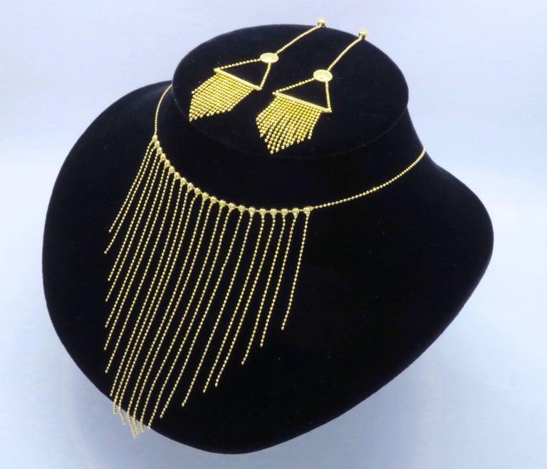 18 Karat Gold Fringe Necklace and Earring Set  For Sale 3