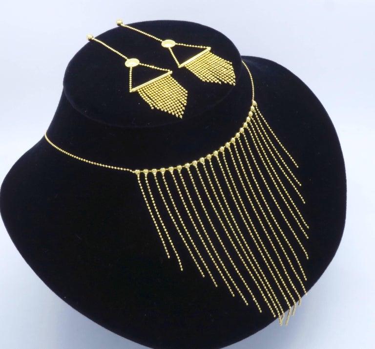 18 Karat Gold Fringe Necklace and Earring Set  For Sale 4