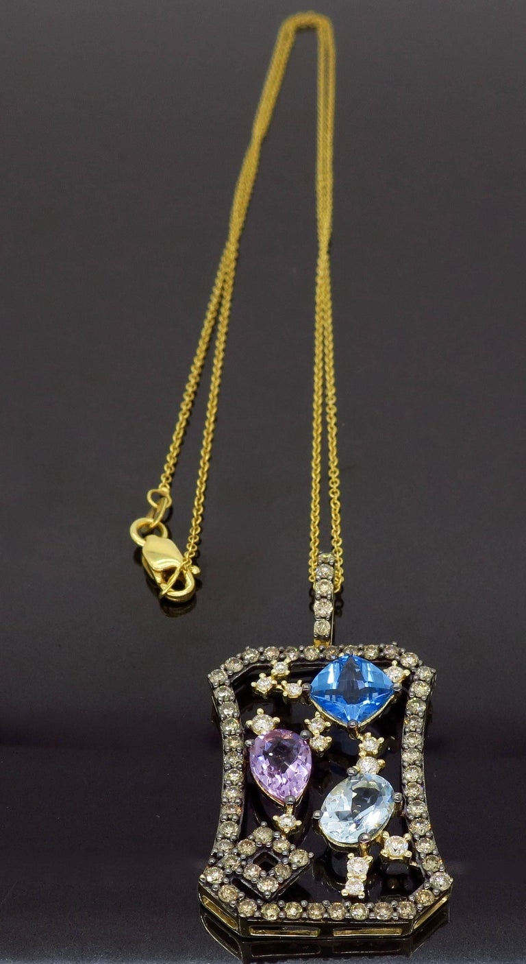 Le Vian Abstract Gemstone and Diamond Necklace In Excellent Condition For Sale In Webster, NY