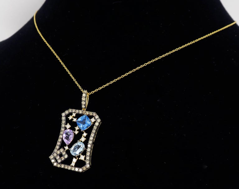Le Vian Abstract Gemstone and Diamond Necklace For Sale 3