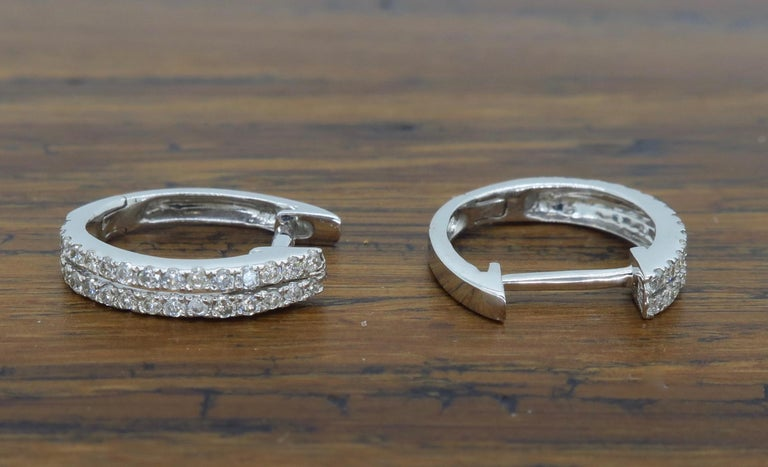 Double Row Diamond Huggie Style Earrings In New Condition For Webster Ny