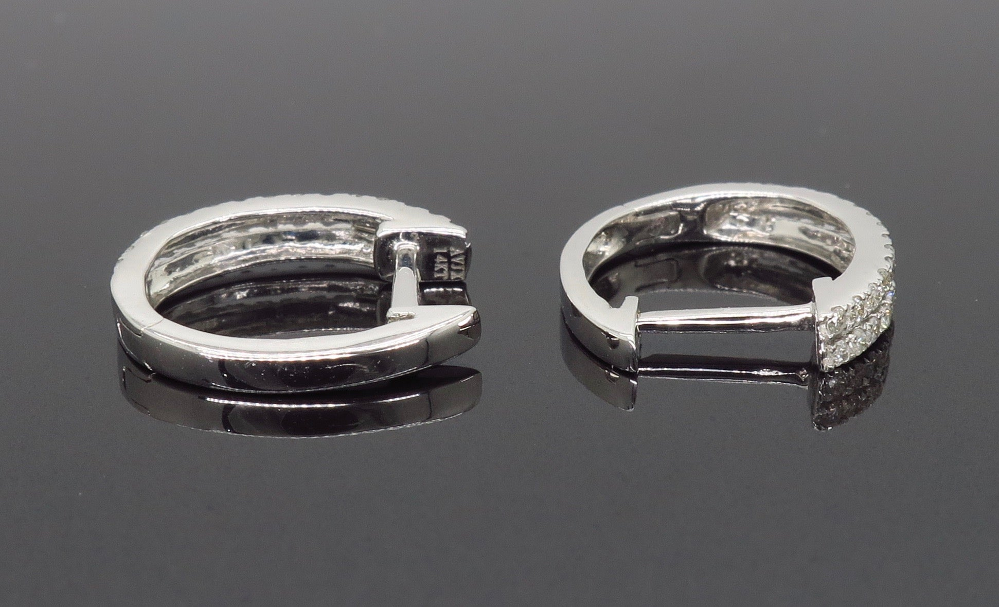 Double Row Diamond Huggie Style Earrings For Sale at 1stdibs