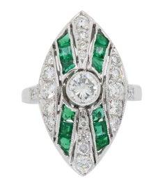 Platinum Diamond and Emerald Navette Style Ring