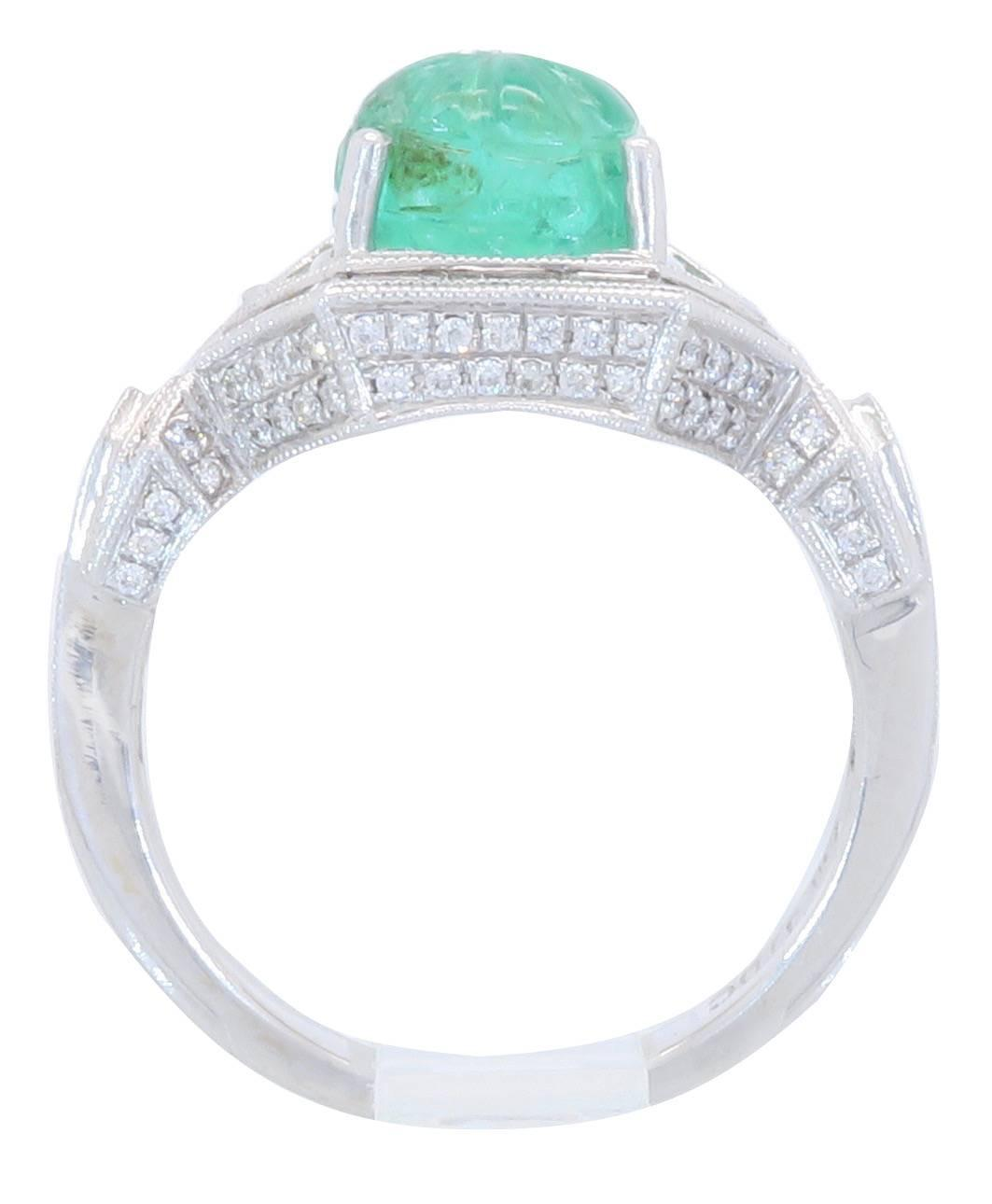 18k White Gold Diamond And Carved Emerald Ring For Sale At