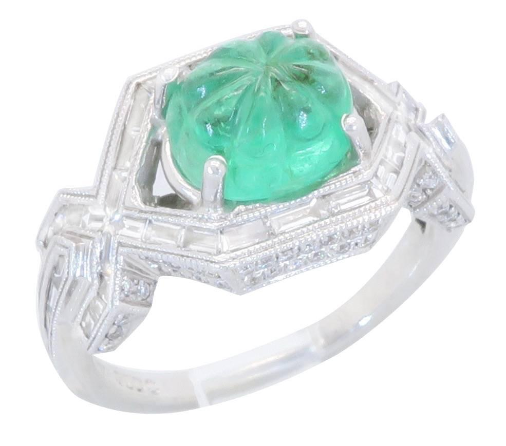 18k white gold and carved emerald ring for sale at