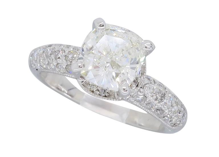 GIA Certified 1 84 Carat Cushion Cut Diamond Engagement Ring For Sale at 1stdibs
