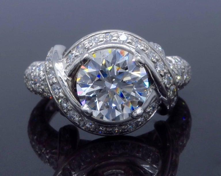 Tiffany & Co. Schlumberger Signature Diamond Platinum Engagement Ring 4