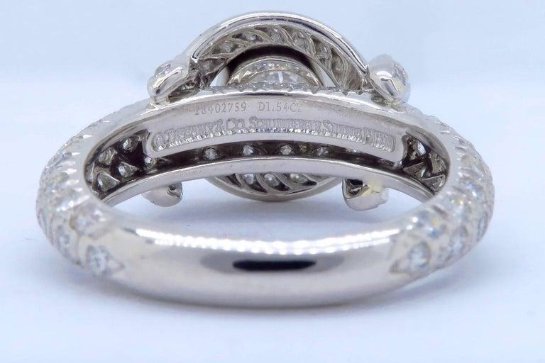 Tiffany & Co. Schlumberger Signature Diamond Platinum Engagement Ring 8