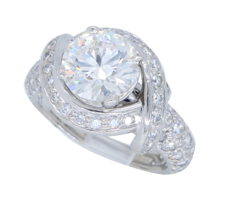 Tiffany & Co. Schlumberger Signature Diamond Platinum Engagement Ring 9