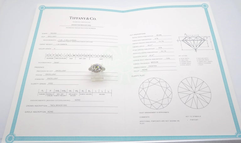 Women's Tiffany & Co. Schlumberger Signature Diamond Platinum Engagement Ring For Sale