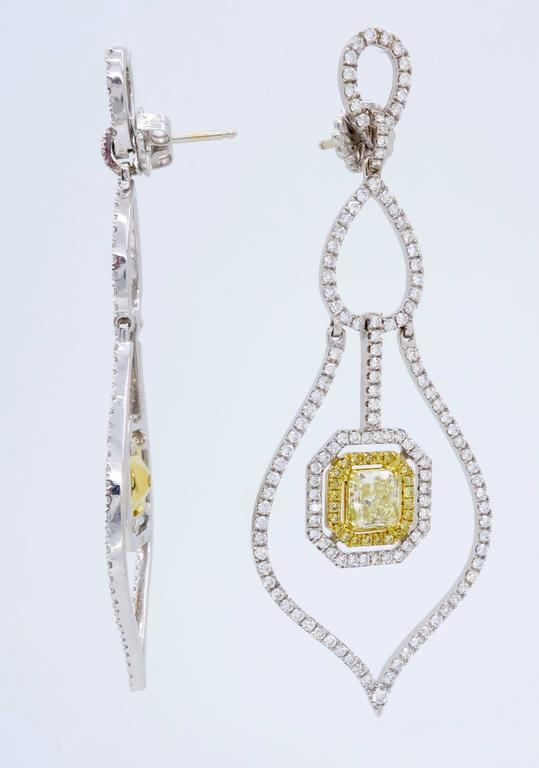 Savransky GIA Certified Diamond and White Gold Chandelier Dangle Earrings 8