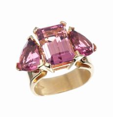JFA Pink and Red Tourmaline 18 Karat Gold Ring