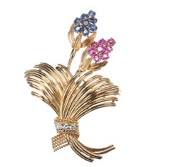 Floral Sapphire and Ruby Diamond Brooch in 14 Karat Yellow Gold