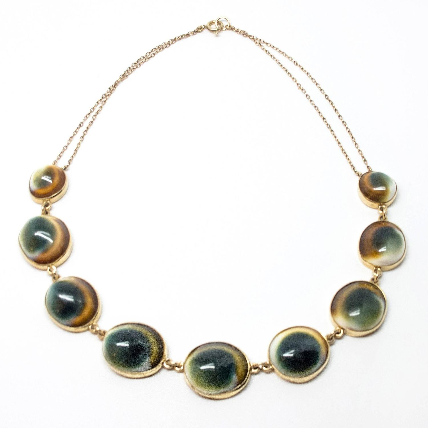 Exhibition Shell Necklace : Antique operculum shell gold necklace for sale at stdibs