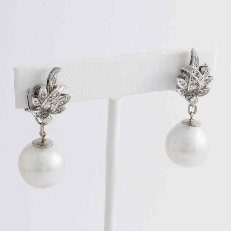 South Sea Pearl Diamond White Gold Convertible Drop Earrings 5