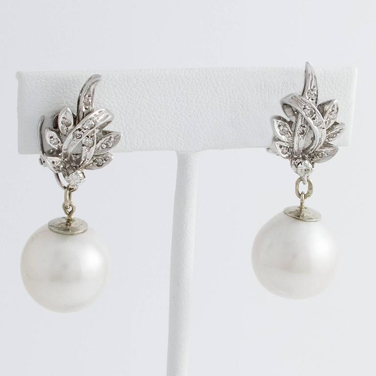 South Sea Pearl Diamond White Gold Convertible Drop Earrings 3