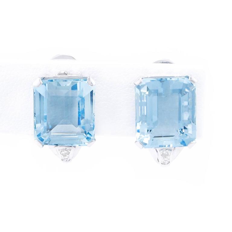 Art Deco Brazilian Aquamarine and Diamond Earrings set in Platinum 3