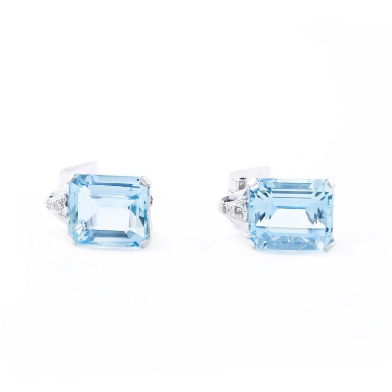 Art Deco Brazilian Aquamarine and Diamond Earrings set in Platinum 4