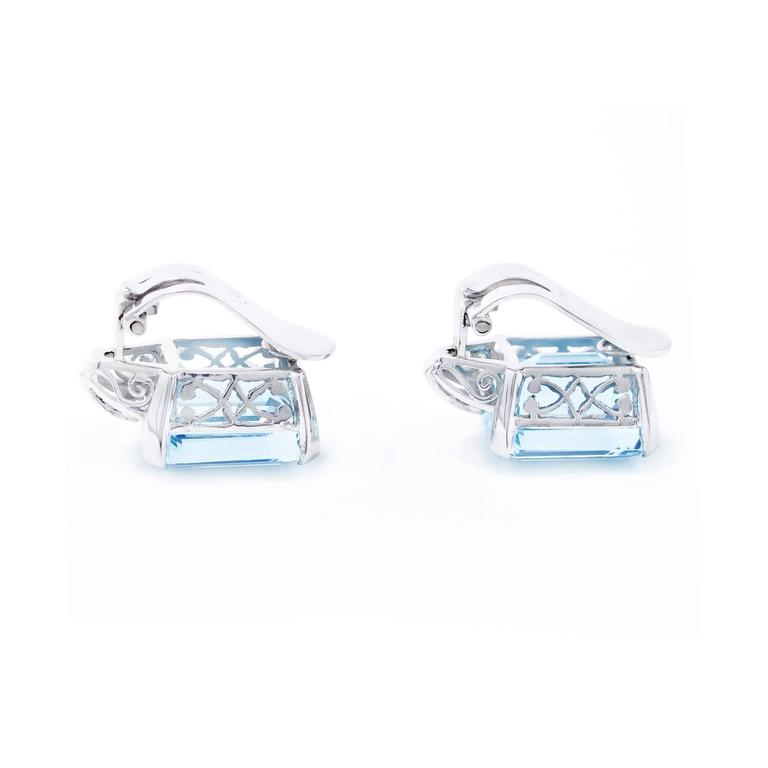 Art Deco Brazilian Aquamarine and Diamond Earrings set in Platinum 5