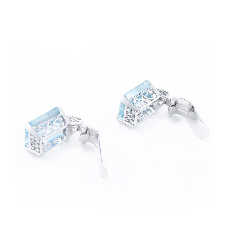 Art Deco Brazilian Aquamarine and Diamond Earrings set in Platinum 7