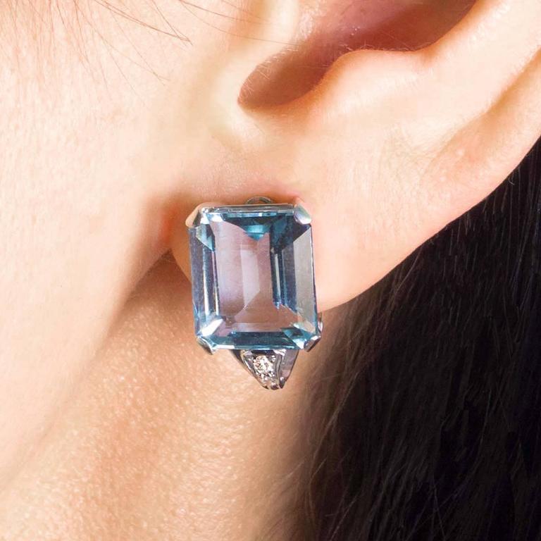 Art Deco Brazilian Aquamarine and Diamond Earrings set in Platinum 6