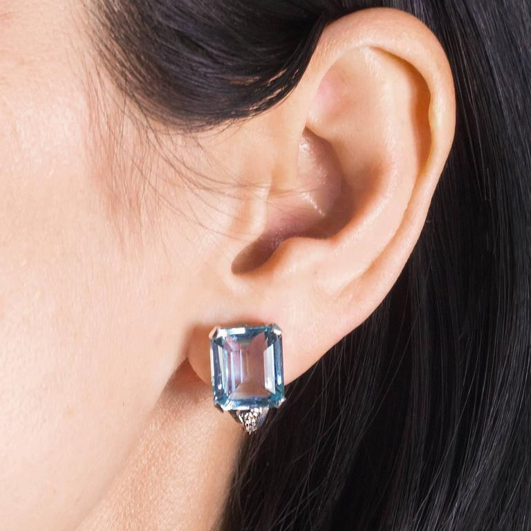Art Deco Brazilian Aquamarine and Diamond Earrings set in Platinum 2