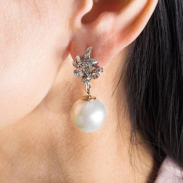 South Sea Pearl Diamond White Gold Convertible Drop Earrings 2