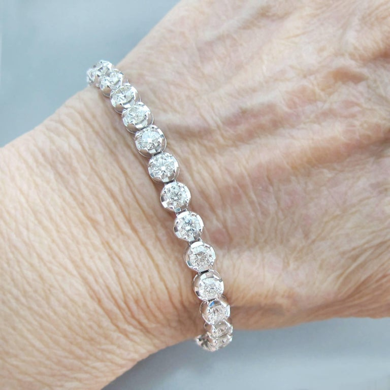 Fabulous 10 26 Carat Diamond Tennis Bracelet Set In 18