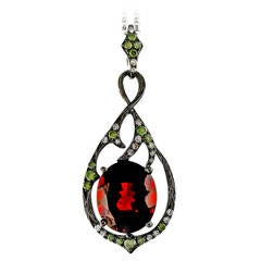 Garnet Diamond White Gold Blackened Necklace Pendant