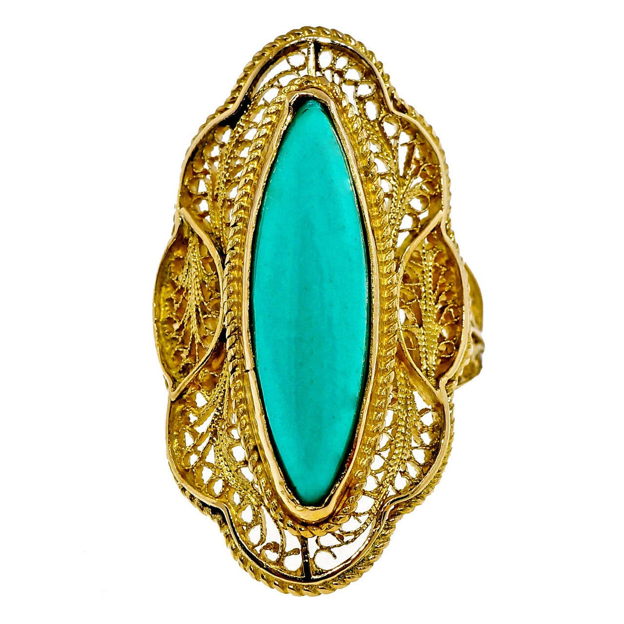 marquise turquoise gold filigree ring at 1stdibs