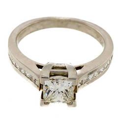 Princess Cut Diamond Channel Set Platinum Engagement Ring