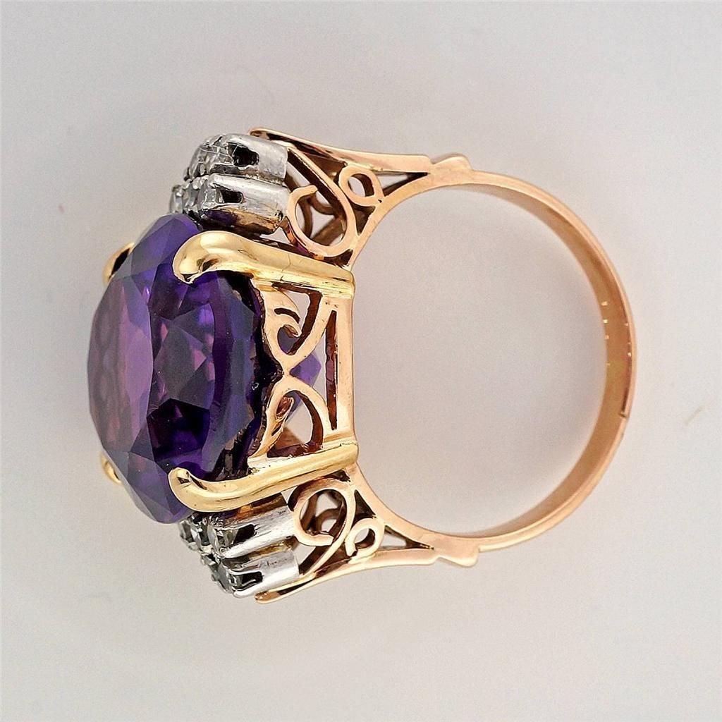 Amethyst DIamond Gold Ring 3