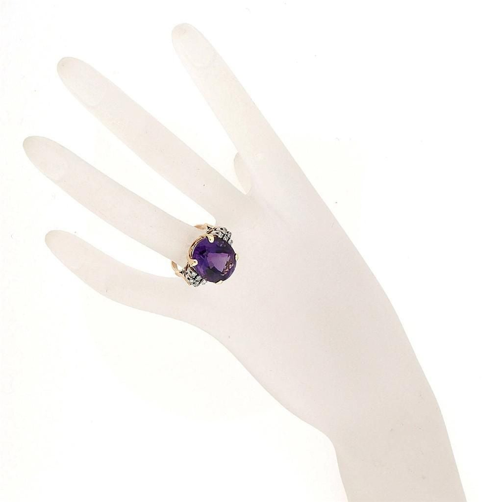Amethyst DIamond Gold Ring 4