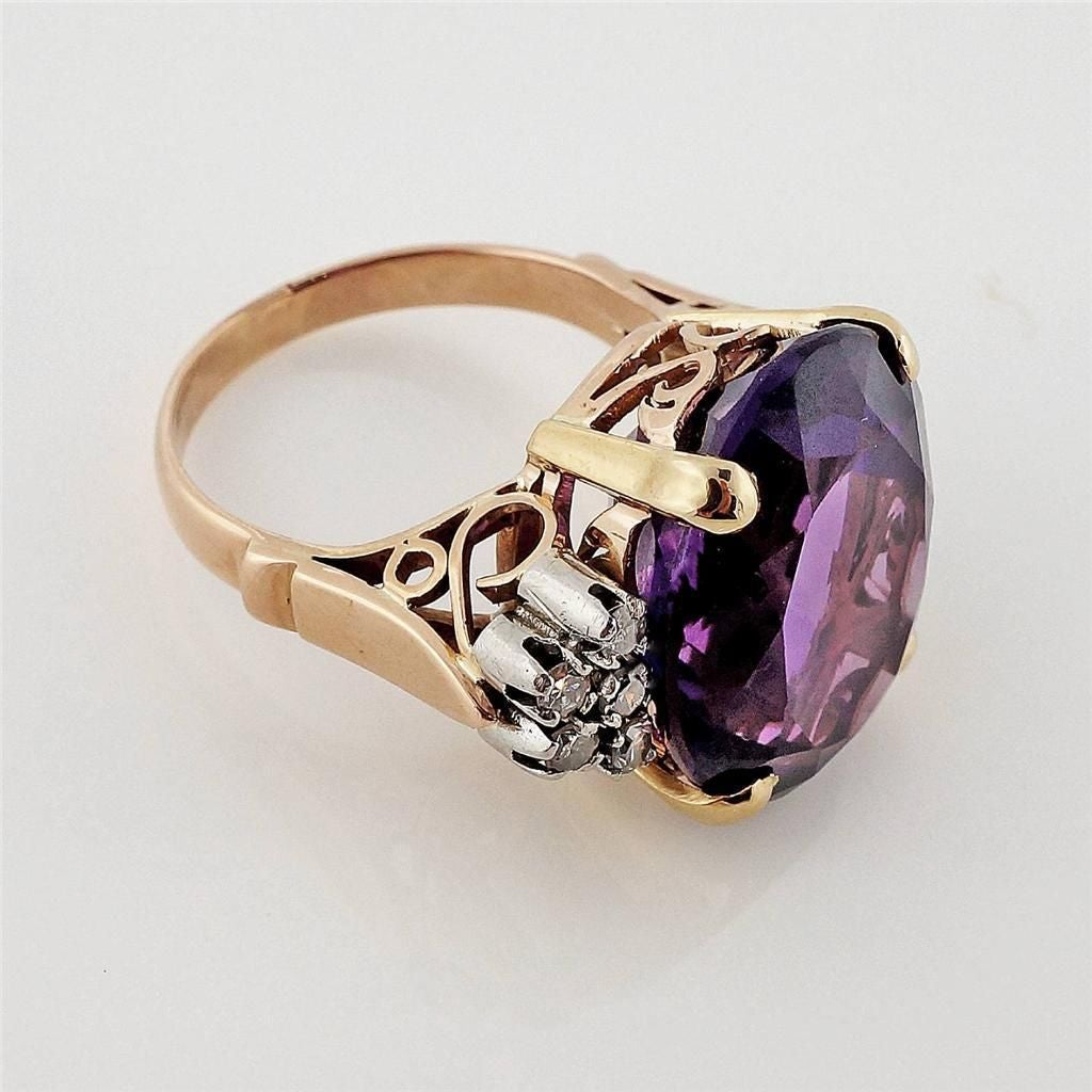 Amethyst DIamond Gold Ring 5