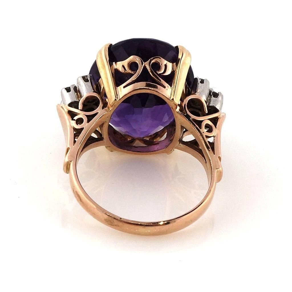 Amethyst DIamond Gold Ring 7