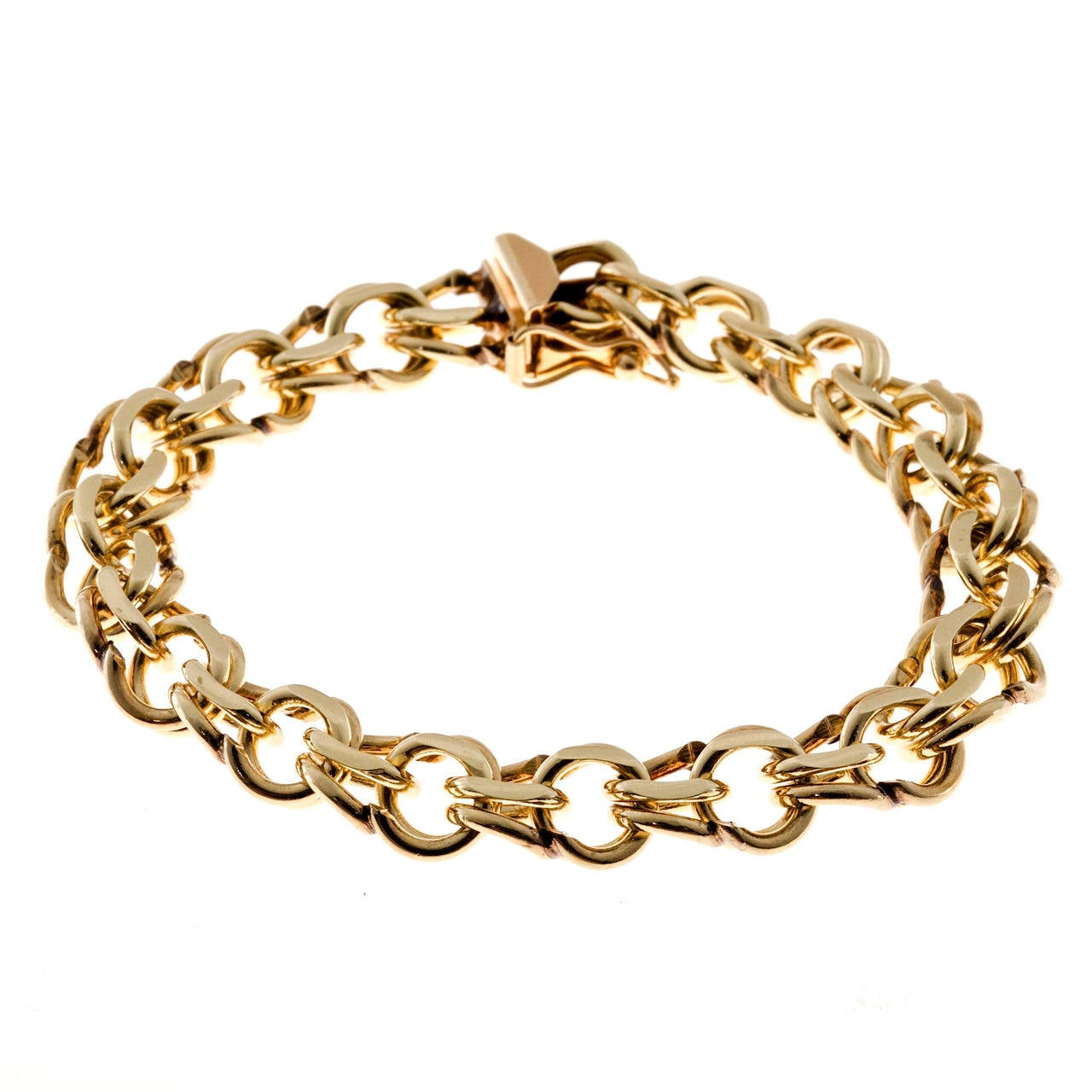 Double Spiral Link Yellow Gold Bracelet