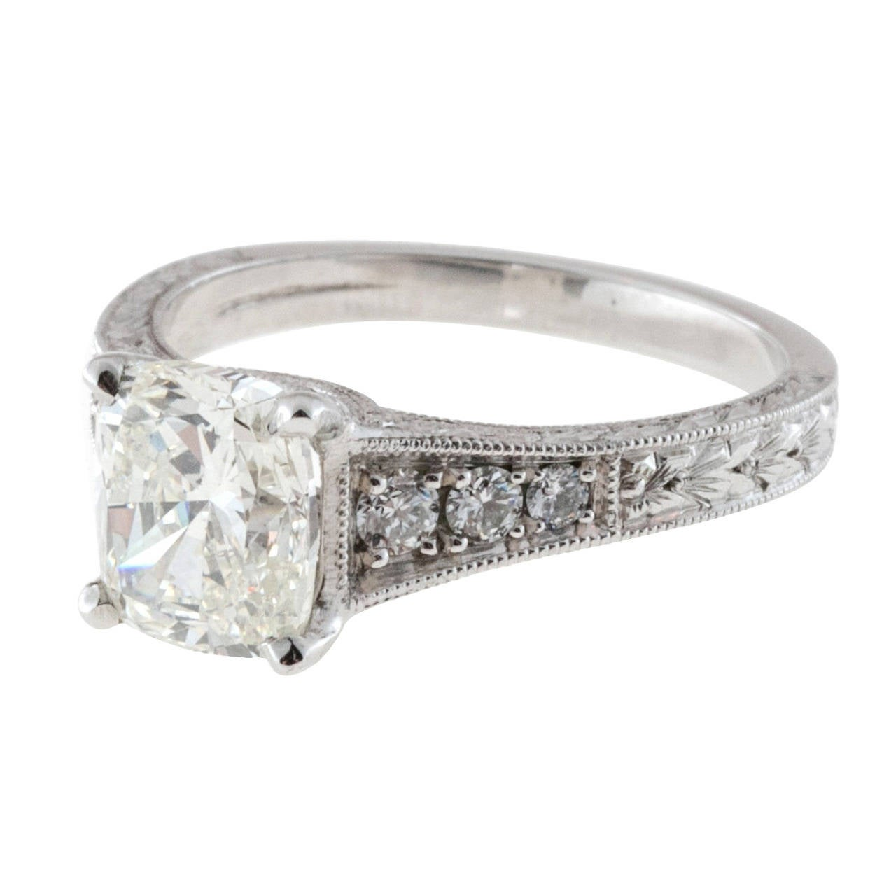 suchy cushion engraved platinum ring for