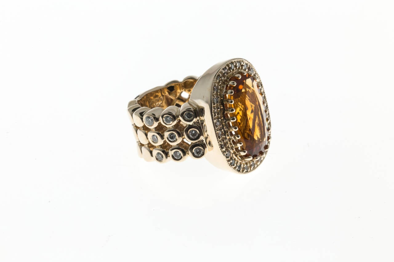 Sonia B Citrine Diamond Gold Ring 2