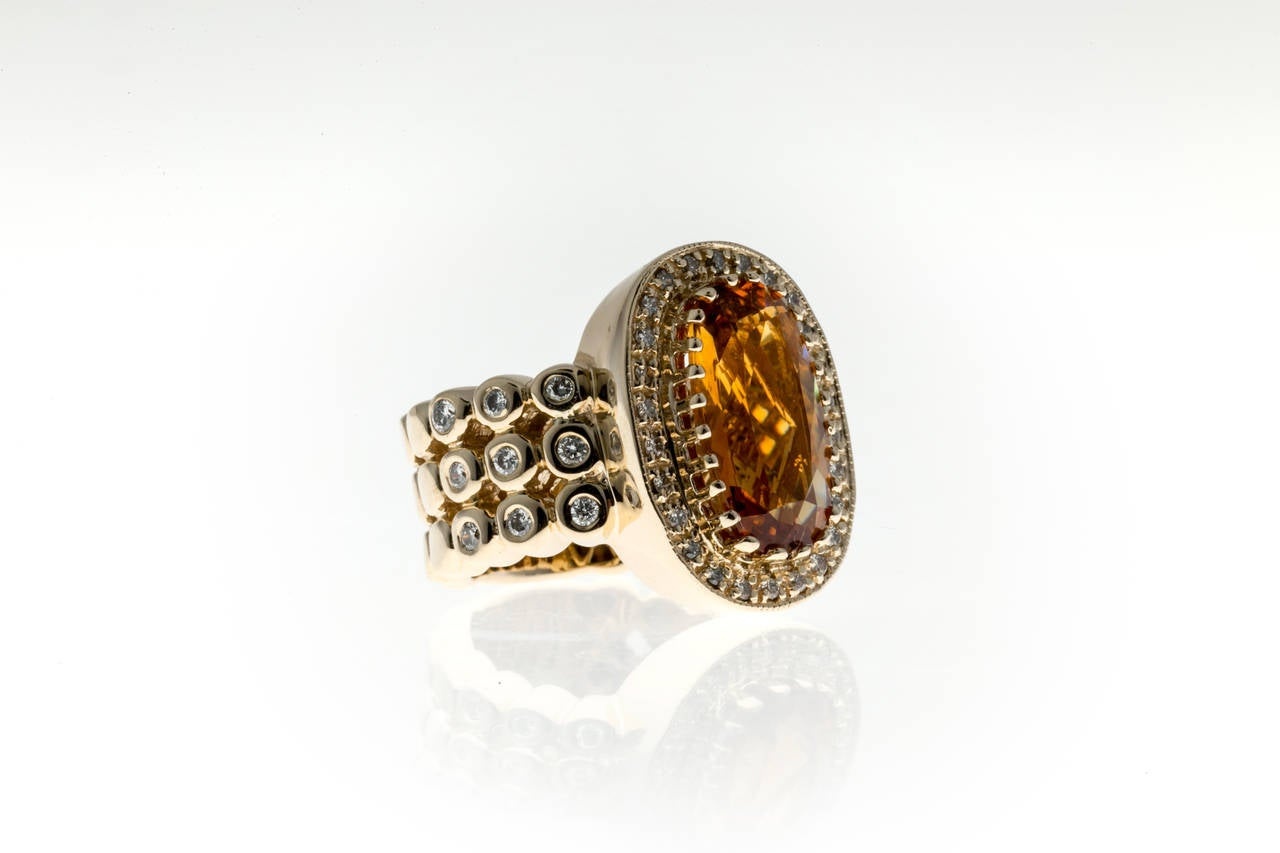 Sonia B Citrine Diamond Gold Ring 4